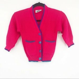 Vintage Neon Pink 90's Button Front Sweater Kids 5